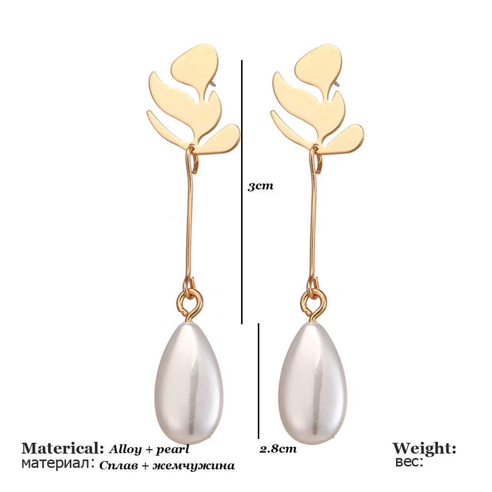 Gesimuleerde Parels Lange Tassel Dangle Oorbellen Voor Vrouwen Leaf Veer Drop Brincos Bijoux Boucle D' Oreille Sieraden Oorbel Gift