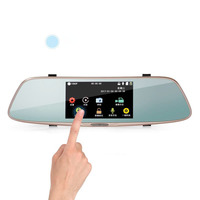 017 5 Inch IPS High Definition Touch Screen 170 Degrees Wide Angle Rearview Mirror Recorder Dual