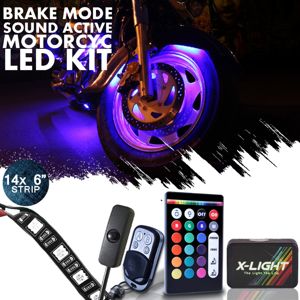 14pcs 18 Color Wireless Sound Action RGB SMD Smart 3-IN-1 Leds Motorcyle Led Strip Kit | Brake Mode | 14 strip 126 LEDs | Switch