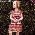 Chicas Vestido de Verano Carretto Con Rosa Diseñador 2017 Niñas Ropa Traje para Niños Vestidos De Fiesta Vestido Chlidren Vestido Princesa