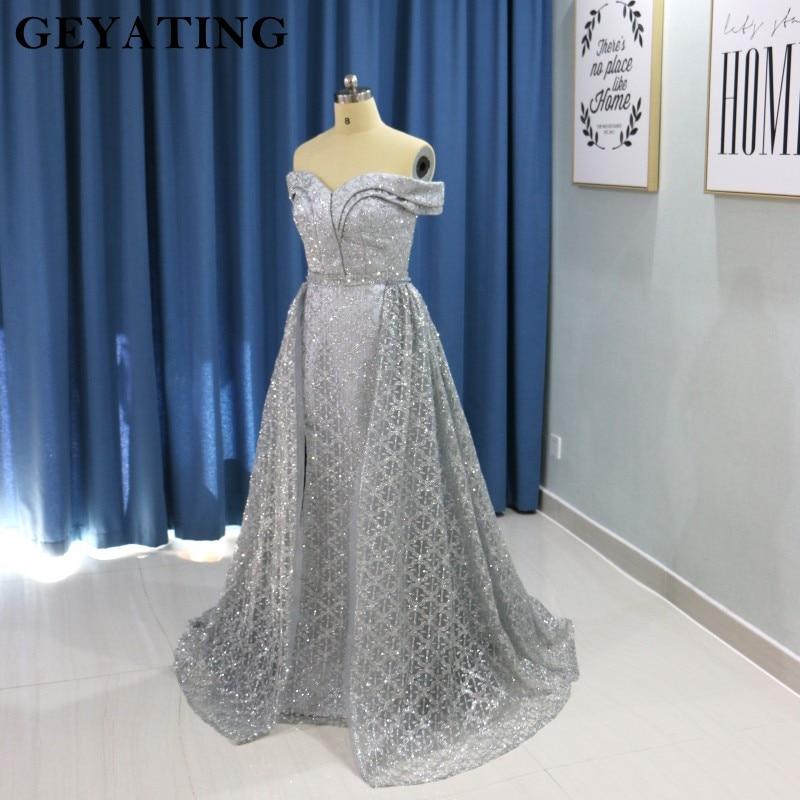 Saudi Arabic Dark Green Mermaid Evening Dress Long Detachable Train Prom Dresses 2019 Dubai Turkish Off Shoulder Evening Gowns 6