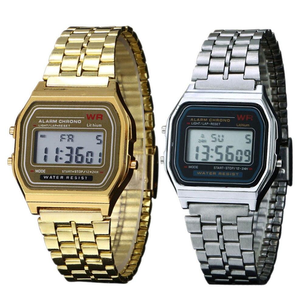 Watch Men Business Golden Gold Couple Watch Vintage Women Watches Men Dress Watch Stainless Steel Digital Clock Relogio Feminino