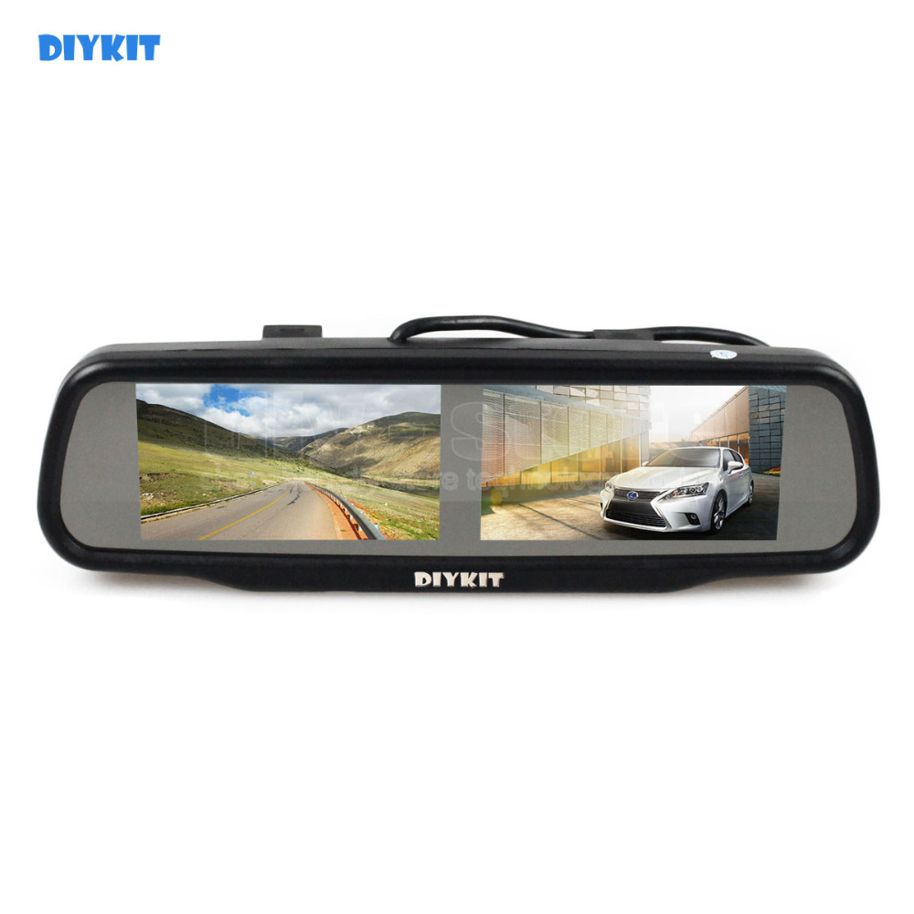 Фото DIYKIT Dual 4.3 inch TFT LCD Mirror Monitor Car Monitor for Dvd Video Player Reversing Backup Car Camera