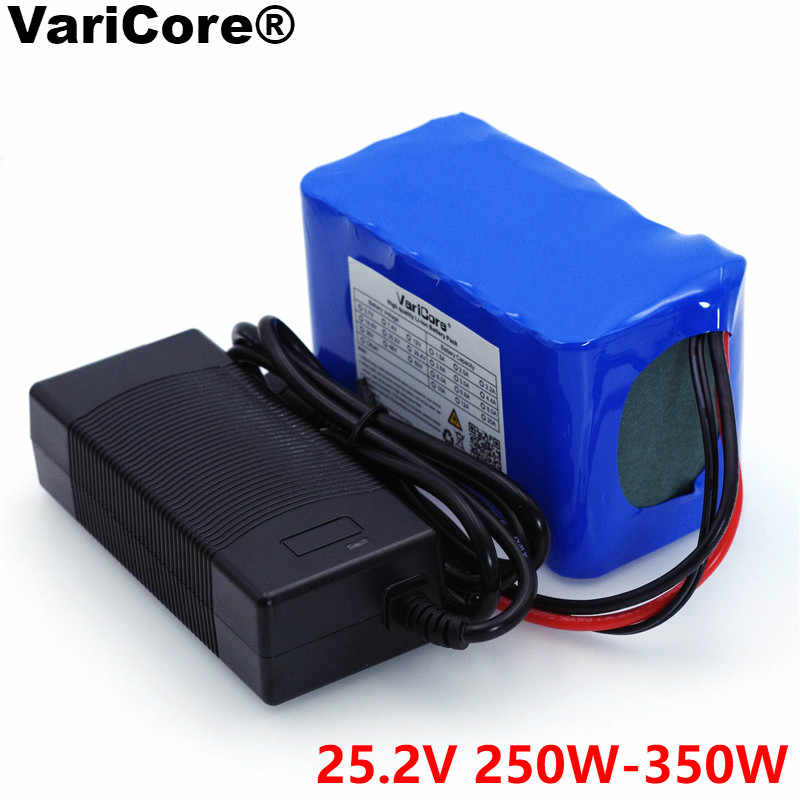 VariCore 24V 6s 4A 6A 8A 10A 18650 battery pack 25.2V 12Ah Li-ion battery for bicycle battery 350W E bike 250W motor+Charger