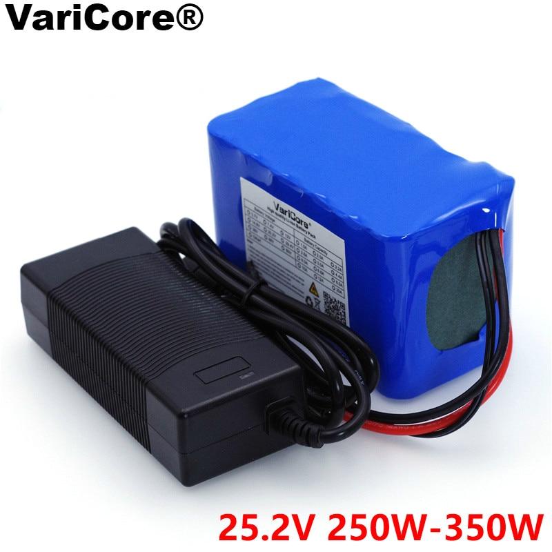 Batterie VariCore 24V 6s 4A 6A 8A 10A 18650 batterie Li-ion 25.2V 12Ah pour batterie de vélo 350W E vélo 250W moteur + chargeur