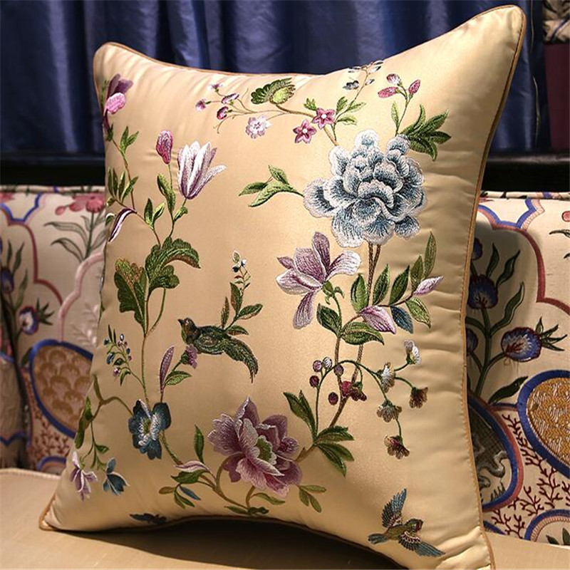 free shipping classical many flowers throw <font><b>Pillow</b></font> with inner <font><b>50x50cm</b></font> <font><b>Pillow</b></font> embroidery sain cushion <font><b>pillow</b></font> chair <font><b>decorate</b></font> image