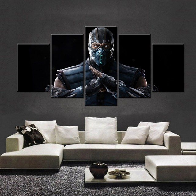 5 Pieces Mortal Kombat X Fighting Game Wall Poster Pictures For Living Room HD Canvas Modular