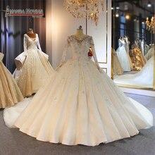 Customer order full beading wedding dress handmade sew beading bridal dress luxury 2019