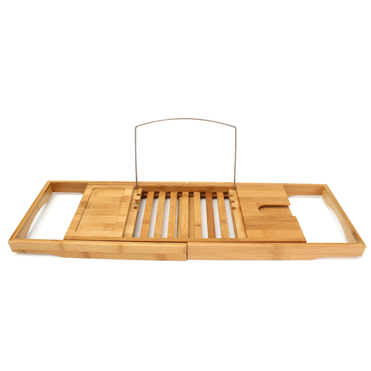 Bamboo Bathtub Caddy Tray Organizer with Extending Sides Reading ...