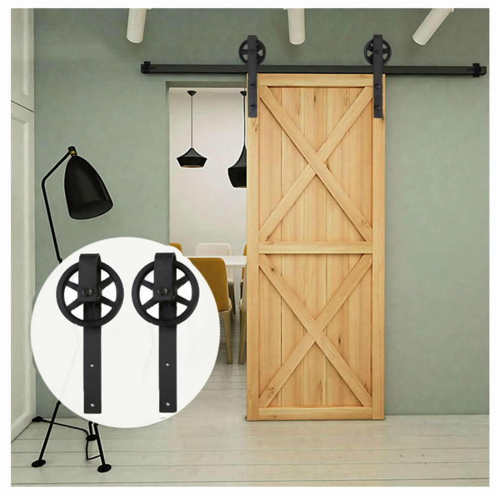 LWZH 14ft/15ft Vintage Style J-Shaped With Big Wheel Sliding Closet Door Track Barn Wood Door Hardware Track Kit For Single Door