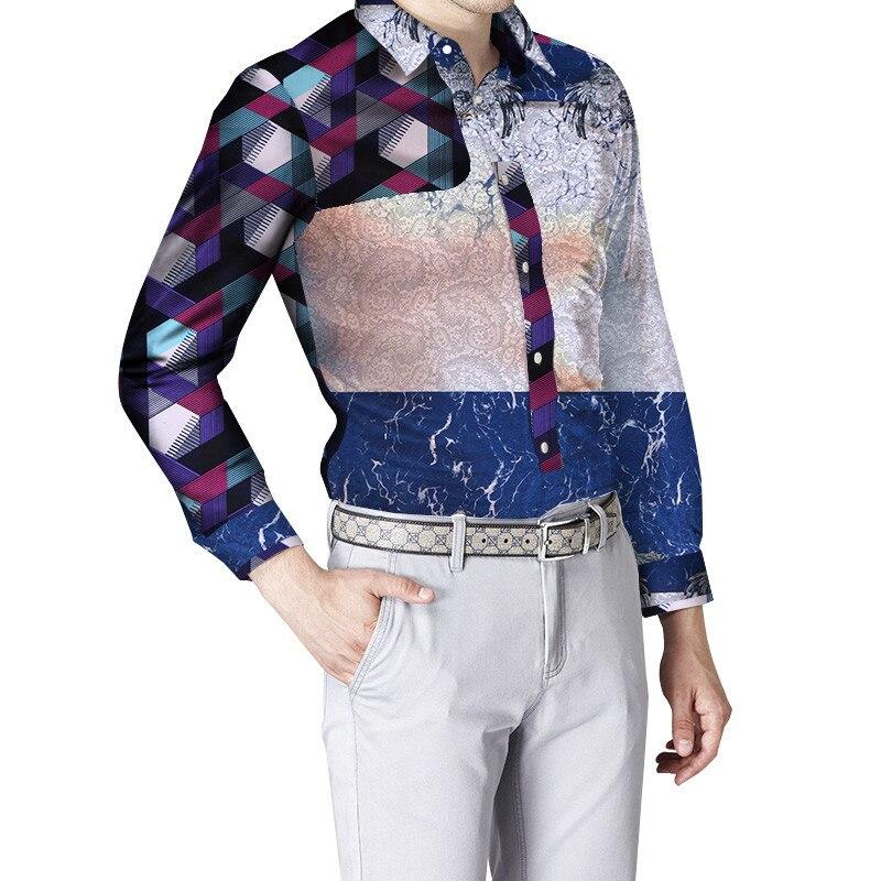 New Hot Men Shirts Terylene Cotton Square Collar Dashiki African Formal