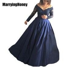 Elegant Navy Blue Off Shoulder Long Sleeve Lace Evening Dresses 2017 Ball Gown Floor Length Formal Dress Vestido De Festa