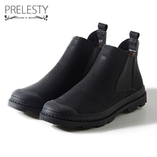 Prelesty Classical Genuine Cow Leather Men Chealsea Boots Elastic Band Waterproof Black Quality Shoes Vintage Urban Tough Shoes cheap Adult Low (1cm-3cm) Rubber WS1024 Genuine Leather Chelsea Boots Round Toe Platform Spring Autumn Fits true to size take your normal size