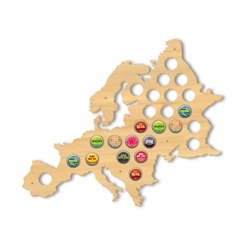 European Beer Cap Map Pub Bar Wooden Wall Sign Beer Bottle Cap Display Holder Euro Wood Map Cap Catcher Man Cave Beer Lover Gift(China)