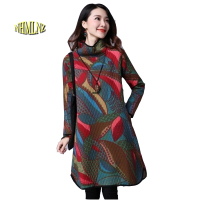 2017 Winter National Wind New Leisure Set Head Women Long Sleeved Dress High Collar Printing High