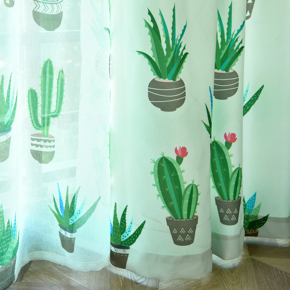 Cactus Cotton Linen Curtain Modern Rustic Quality Living Room Curtains Fabrics Kitchen Door Curtains Drapes