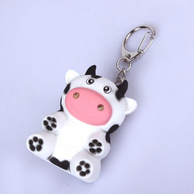 high quality little Cows font b LED b font sound luminous key chain pendant portable font