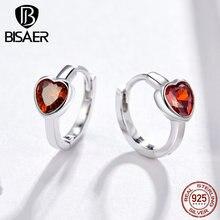BISAER, романтические 925 пробы, серебряные, красные, в форме сердца, женские серьги, маленькое сердце, серьги-гвоздики, модное ювелирное изделие EFE084