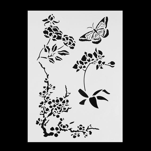 Beautiful Butterfly Flower Stencils For Wall Painting Scrapbooking