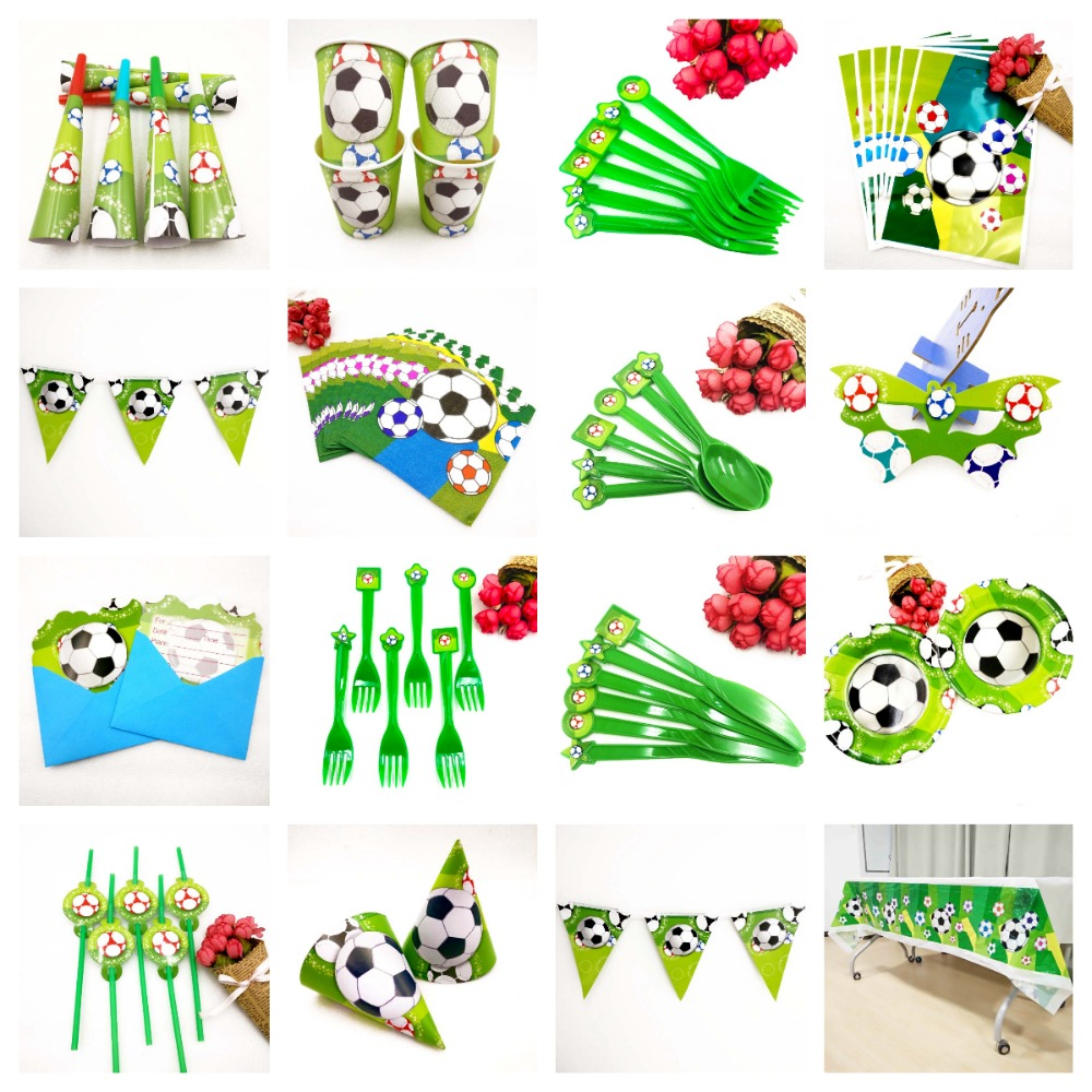 Football Soccer Birthday Party Decorations Supplies Disposable Tableware Tablecloth Banner Plates Cups Adult theme Decor Set in Disposable Party Tableware from Home Garden