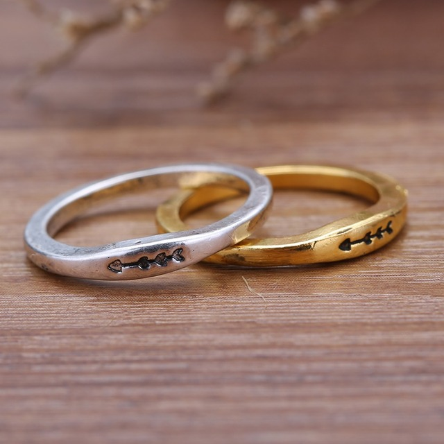 Couple wedding rings Ancient gold silver plated ring for women men
