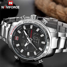 Naviforce Watch Pria Top Brand Mewah Analog Digital Sport Jam Tangan Militer Stainless Steel Pria Clock Relogio Masculino 9093(China)