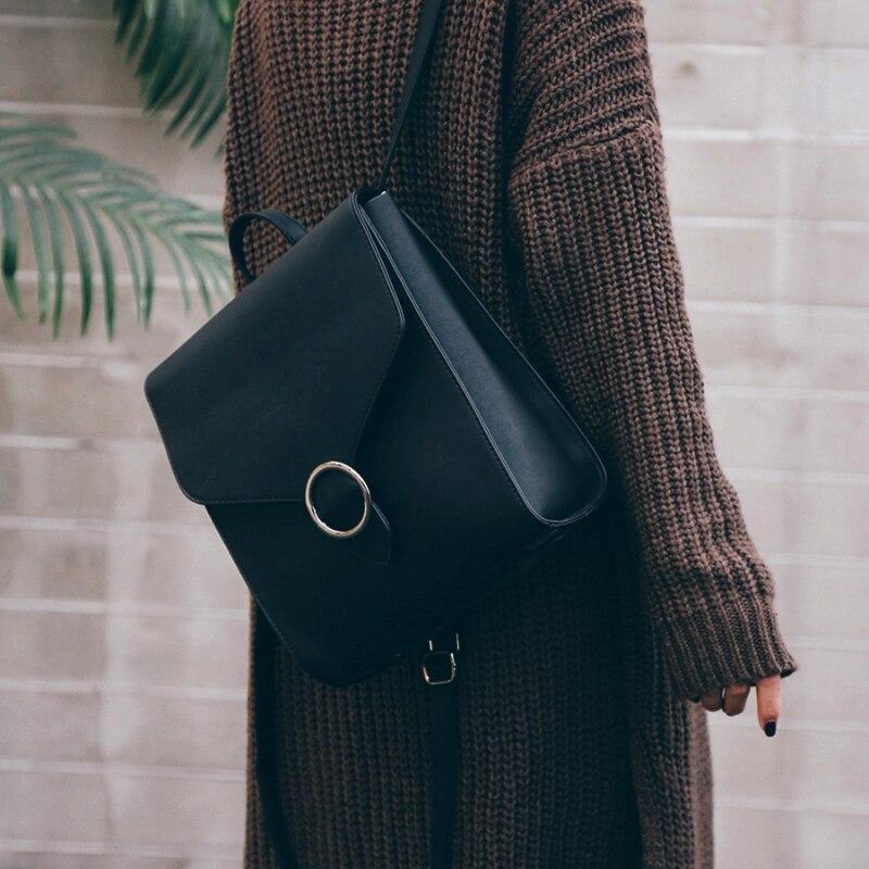 Fashion Women Backpack Pu Leather Retro Female Bag Schoolbags Teenage Girl High Quality Travel Books Rucksack Shoulder Bags #3