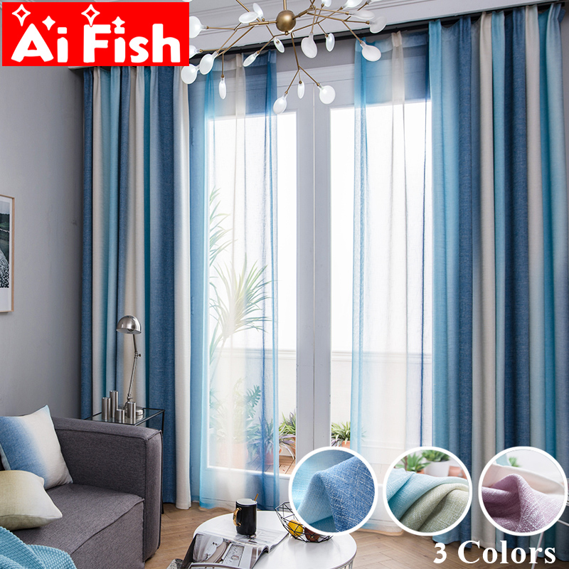 Color Stripes High Shade Curtains For Living Room Bedroom Kitchen Curtains Tulle Custom Mediterranean Style Home Decor Wp109-40(China)