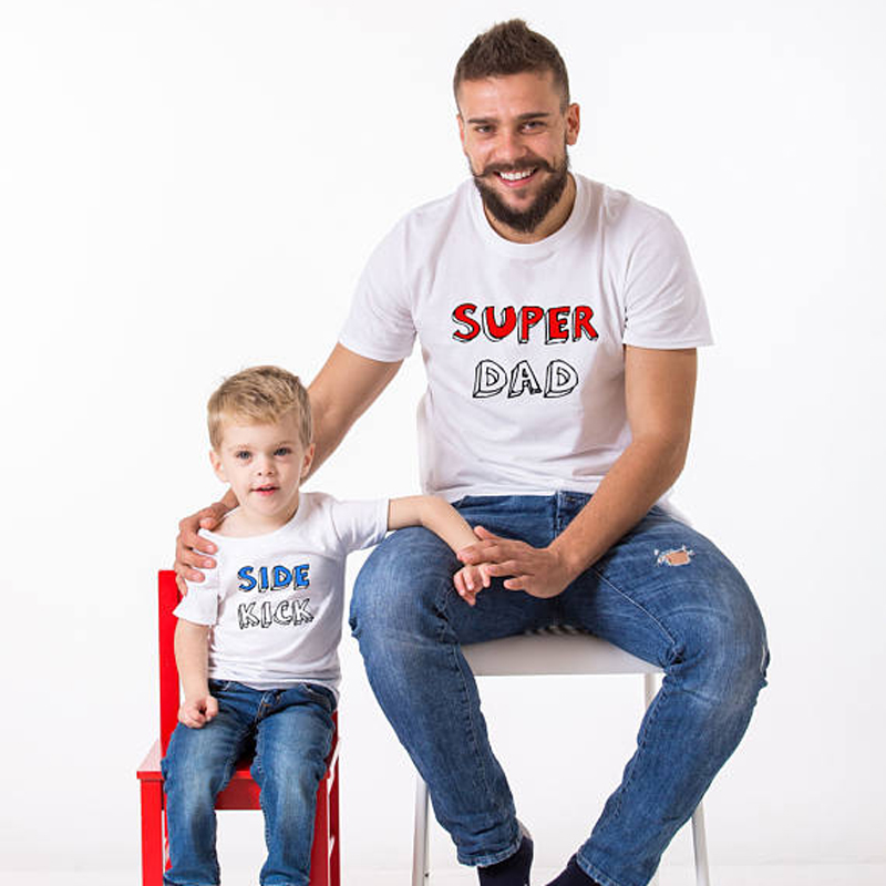 8e2e68bb Super Dad Side Kick Pattern Daddy Baby Set Father and Son Clothes Top Tee  Family Men Boy T Shirt Family Matching Outfits