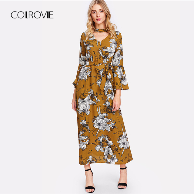 77f20802c4 COLROVIE Bohemia V Cut Choker Neck Floral Print Self Tie Waist Summer Dress  2018 Autumn Three Quarter Sleeve Women Maxi Dresses
