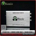Mini Hifi DAC XMOS PCM5102 USB Placa de Som 384 K 32bit DAC com Saída de Fone de ouvido, frete Grátis