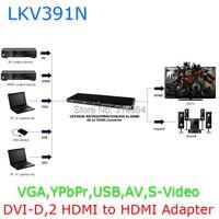 Free shipping LKV391N converter All Video VGA,YPbPr,HDMI,USB,AV,S Vidoe,DVI D,2 HDMI to HDMI Scaler & Switch