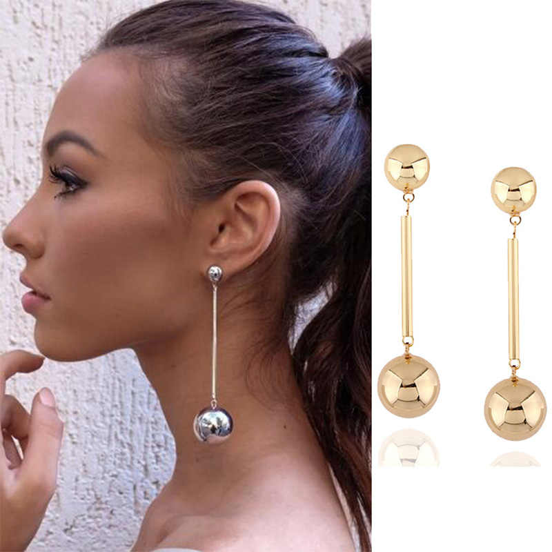 Fashion Long Earrings 2018 Ball Geometric Earrings for Women Hanging Dangle Earrings Drop Gold Earrings Modern Oorbellen Jewelry