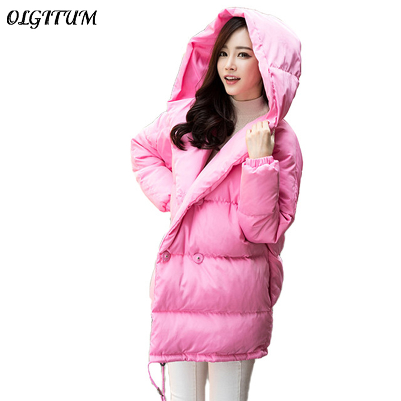 winter new women loose coat fashion cute parkas hooded jacket overcoat long section casual down cotton coat large size coat 2017 cheap women winter jacket down cotton padded coats casual warm winter coat turn down large size hooded long loose parkas