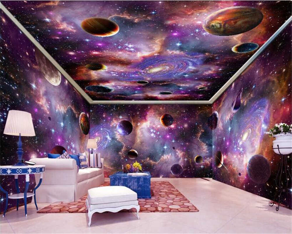 beibehang Custom large wallpaper 3d murals vast starry sky space galaxy whole house background wall paper custom mural wallpaper