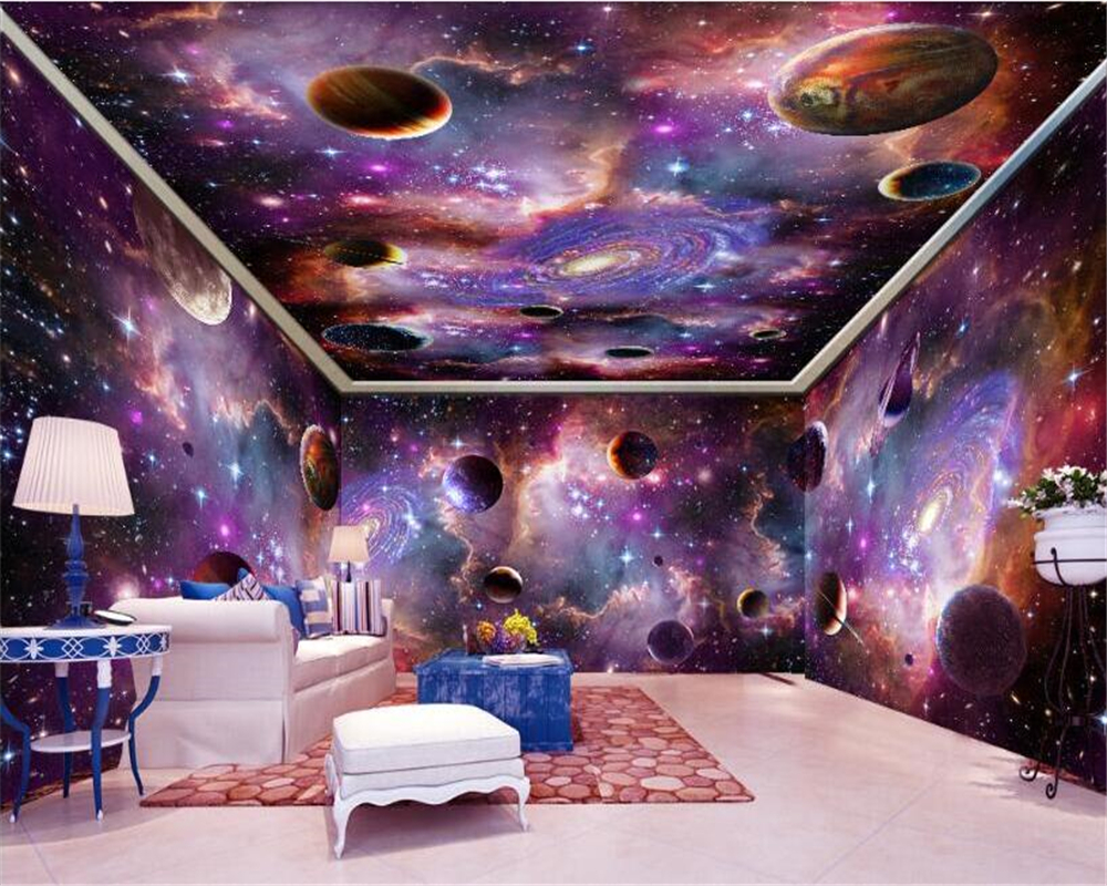 beibehang Custom large wallpaper 3d murals vast starry sky space galaxy whole house background wall paper