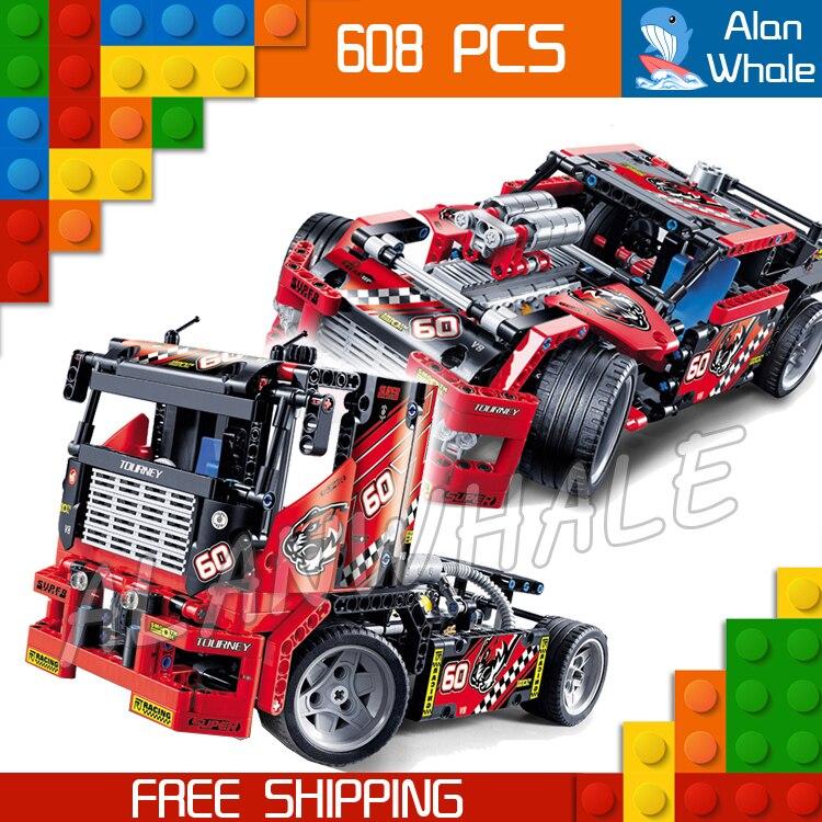 608 pièces 2in1 Technic avancé édition limitée Set course camion 3360 Figure blocs de construction garçons jouets compatibles avec LegoING