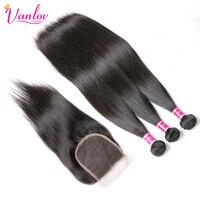 Vanlov 3 חבילות מארג אנושי שיער חבילות עם סגירה ברזילאי 3 חבילות שיער ללא רמי תחרת סגר צבע טבעי
