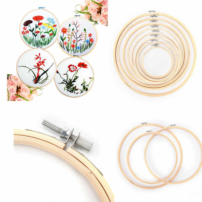10-40cm Wooden Frame Hoop Circle Embroidery Round Machine Bamboo For Cross Stitch Hand DIY Household Craft Sewing Needwork Tool