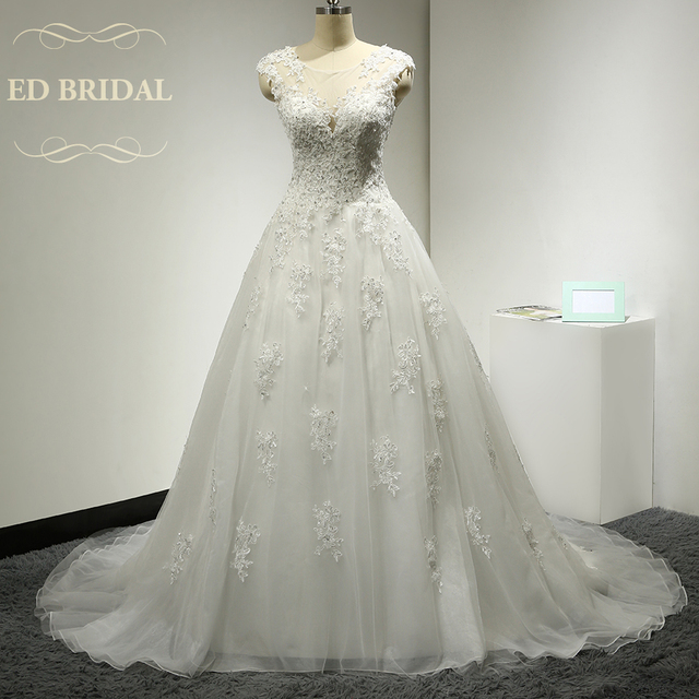 A Line Cap Sleeves Illusion Neckline Tulle Over Organza Wedding Dress With Beaded Lace Liques Bridal