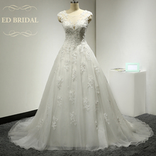 A Line Cap Sleeves Illusion Neckline Tulle over Organza Wedding Dress with Beaded Lace Appliques Bridal Wedding Gown