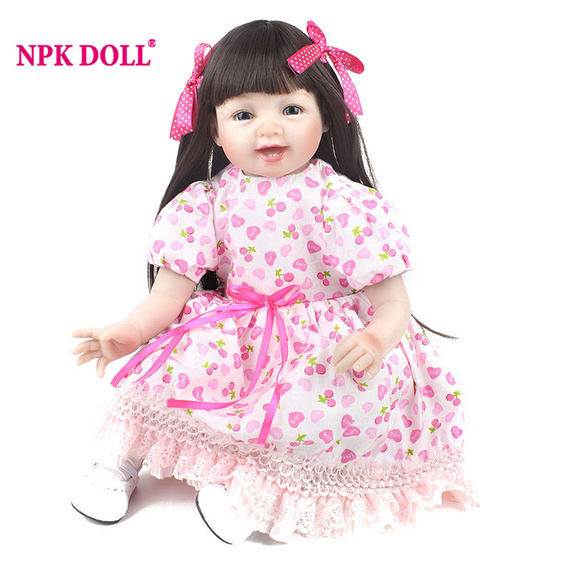 NPKDOLL 55cm Soft Silicone Reborn Dolls 22 Inch Lifelike Cloth Body Newborn Babies Fashion Doll Bebe Reborn Toys For Girls Gifts 22 inch 55cm baby reborn silicone dolls lifelike doll reborn babies for children s toys fashion sky blue set doll
