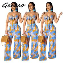 Leaves Print Sexy 2 Piece Tracksuits Women Bow Tie Backless Crop Top And Wide Leg Pants  Summer Outfits Two Piece Matching Sets random floral print tie front two piece outfits in blue
