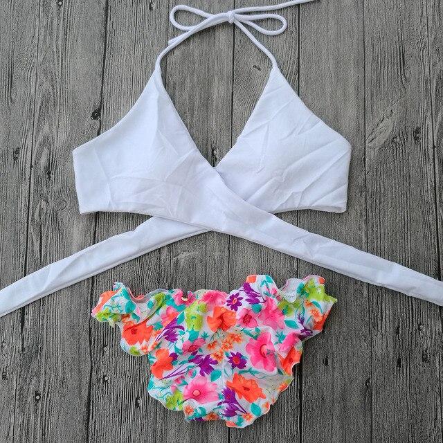 6f6706ee9d73 Mulheres Branco Triângulo Biquíni Brasileiro Bandage Swimwear 2019 Novo Maiô  Segredo Sexy Cintura baixa Tanga atrevido Stes Biquínis fundo