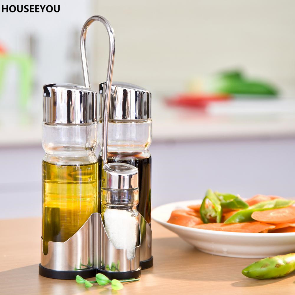 Durable Kitchen Gl Oil Vinegar Salt Pepper Seasoning Gravy Boats Soy Container Shaker Cruet Set With Stand E Tool In Pigs