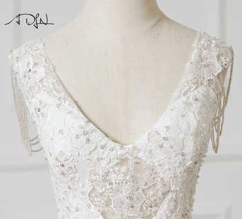 ADLN Sexy Illusion Bodice Wedding Dress Deep V-neck See Through Lace Bridal Gown Robe de Mariage Charming Bride Dress Customized