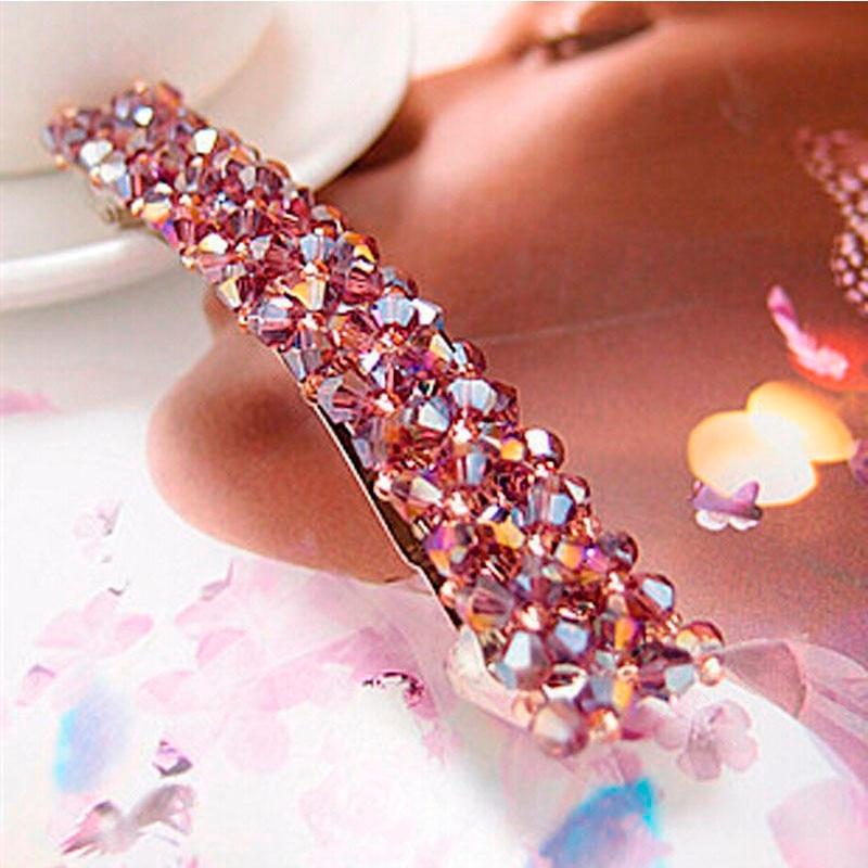 HTB1kmlUJFXXXXbPXpXXq6xXFXXXi Women's Sparkling Rhinestone Crystal Beads Hair Clip Barrette - 6 Colors