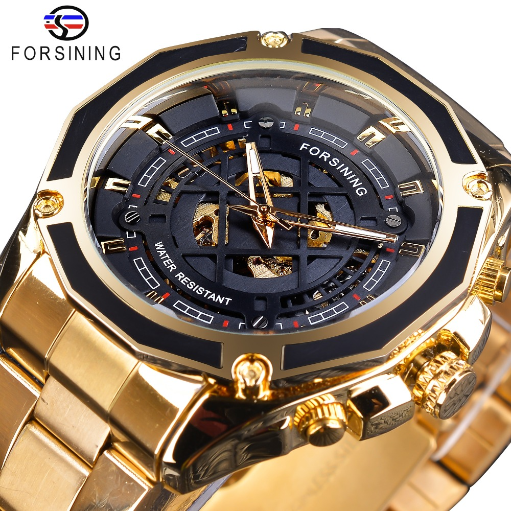 Forsining 2019 3D Transparent Design Gold Stainless Steel Mens Automatic Skeleton Watch Top Brand Luxury Male Clock Montre Homme