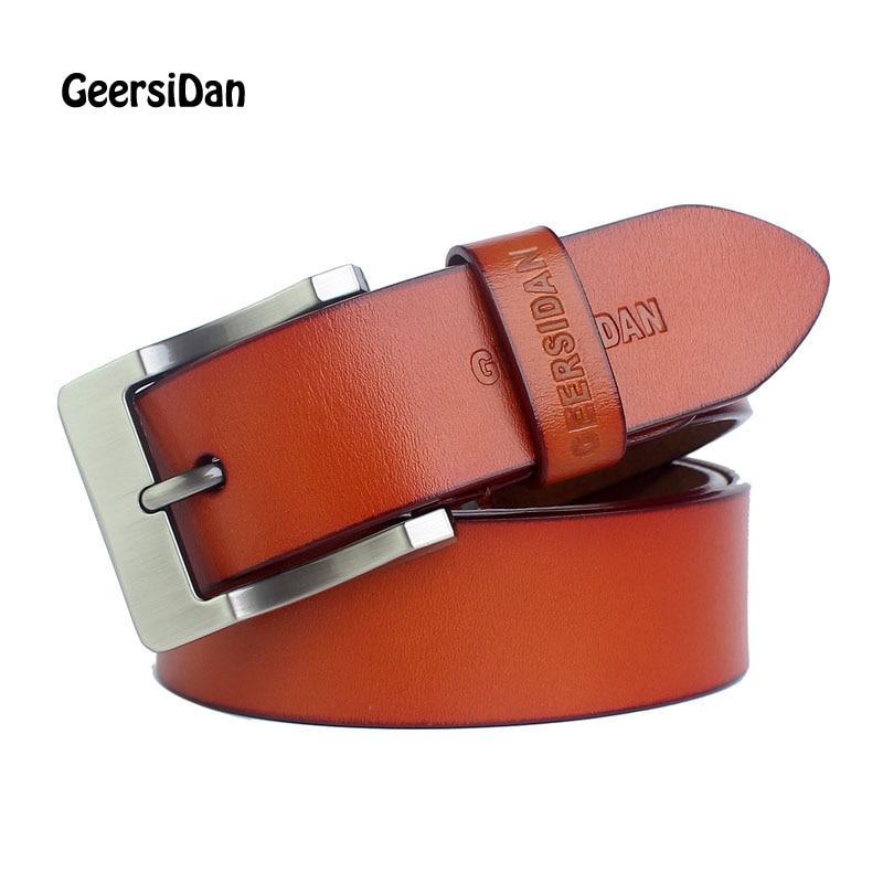 GEERSIDAN חגורות מעצבים חדשים גברים יוקרה באיכות גבוהה 100% חגורות אבזם סיכות וינטג 'עור אמיתי לגברים Cinto Masculino