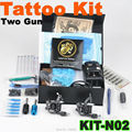 2015 Best Selling Complete Tattoo Kit 2 Tattoo Machine Guns Power Supply Tattoo Needles Set Tattoo Accessories Free Shipping